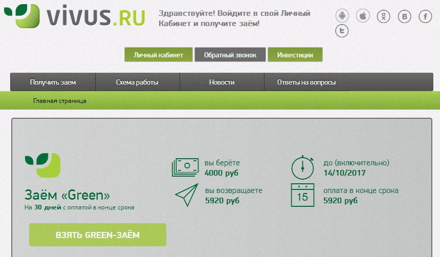 Займ в МФО Вивус - на карту, онлайн заявка, отзывы, официальный сайт